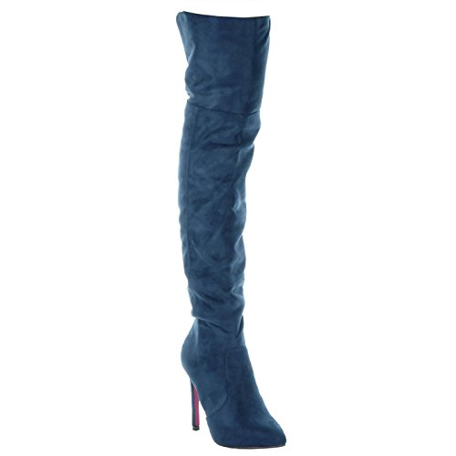 Angkorly Women's Fashion Shoes Thigh Boot - sexy - stiletto - classic Stiletto 10.5 CM Blue ewmFwP