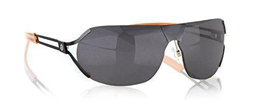 Gunnar Optiks DES-05107Z Steel Series Desmo Semi-Rimless Advanced Outdoor Glasses with Grey Tint Lens, Onyx/Orange Frame Finish (Optik Frames)