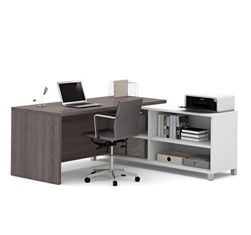 Bestar Pro-Linea L-Desk, White/Bark Grey