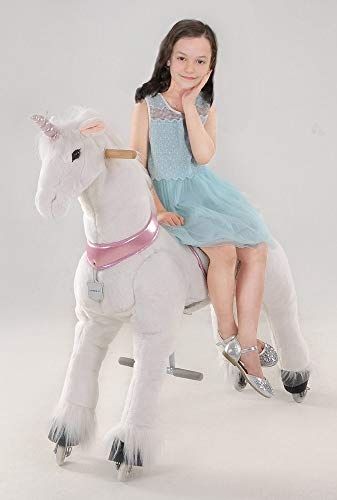 UFREE Large Mechanical Rocking Horse Toy, Ride on Bounce up and Down and Move, 44 inch for Children 6 Years to Adult, Unicorn with Pink Horn