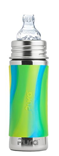 Pura Kiki 11 Oz / 325 Ml Stainless Steel Sippy Cup With Silicone Xl Sipper Spout & Sleeve, Aqua Swirl (plastic Free, Nontoxic Certified, Bpa Free)