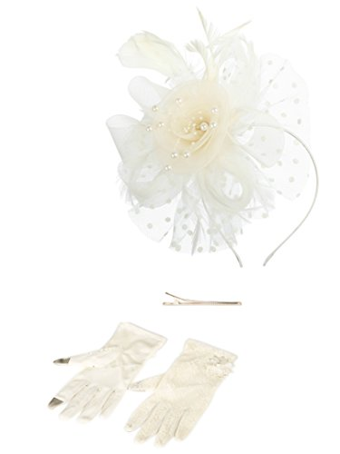 Fascinators Hat for Women Tea Party Headband Kentucky Derby Wedding Cocktail Flower Mesh Feathers Hair Clip (1A-Beige Set)