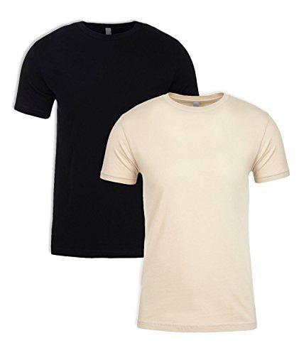(Next Level N6210 T-Shirt, Black + Cream (2 Pack), XX-Large )
