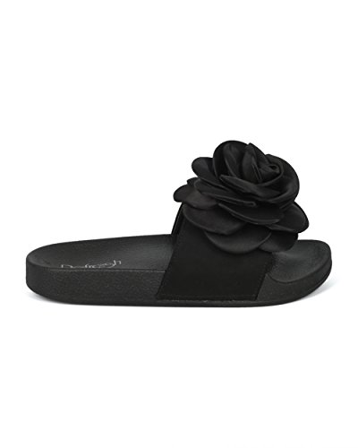 Alrisco Femmes Médias Mixtes Ouvert Toe 3d Rose Semelle Diapositive - Hg32 Par Rafraichissement Collection Black Mix Media