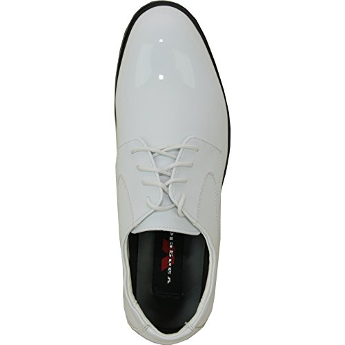 Vangelo Hommes Tuxedo Chaussures Tab Chaussures Habillées Oxford Wrinke Libre Blanc Brevet 9.5w