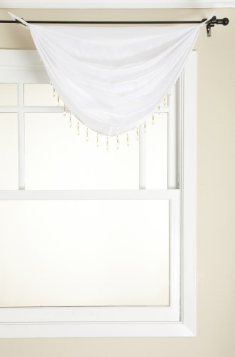 Stylemaster Tribeca Faux Silk Grommet Waterfall Valance with Beaded Trim, White, 36 by (Waterfall Trim)
