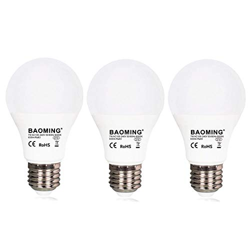 Cheap BAOMING Dusk to Dawn Light Bulb, Smart Sensor LED Light Bulbs,Automatic On/Off,Hallway, Yard, Porch, Patio, Garage, Daylight White 6000K,E26,AC120V 3-Pack