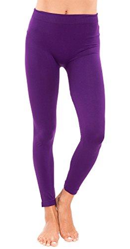 Ladies Plus Size Purple Seamless Leggings Full (Purple Tights)