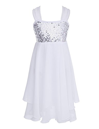 CHICTRY Girls Children Sweetheart Sequins Chiffon Dance Lyrical Dress Sash Bow Tie Ballroom Costumes White 6 -