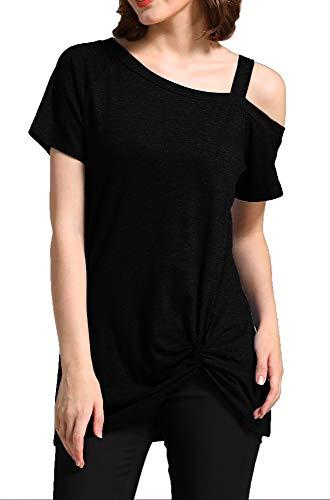 GSVIBK Womens Cold Shoulder Tops Casual Short Sleeve Twist Knot T-Shirt Summer Sexy Tunic Top 215 Black M