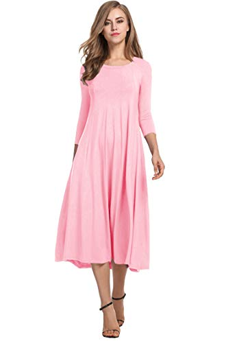 Hotouch Women's 3/4 Sleeve O Neck Pleated Loose Swing Casual Flare Skater Dress (Misty Rose S)
