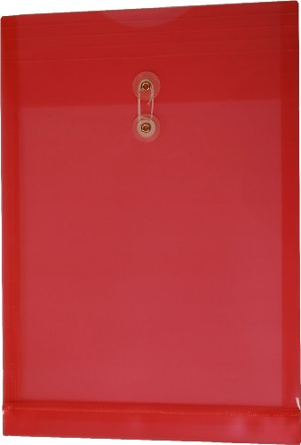 Filexec Poly envelope, Legal size, Top load, Button string closure,Red, (Pack of 6) (50055-14102) ()