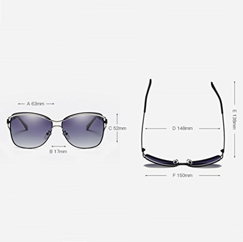 polarizadas YANJING Púrpura Gafas ZYXCC UV para Gafas Mujer Sol Sol Sol Oro Marrón de para Gafas de Negro Protección Morado de Color Rojo 11wdq8r