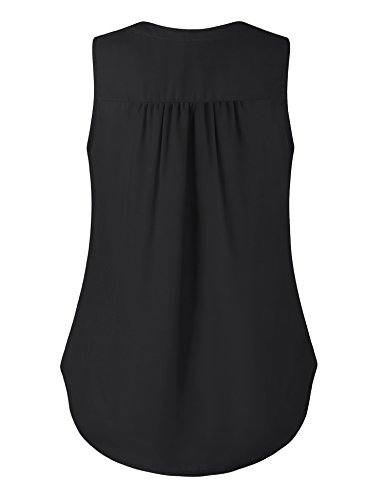 Altelime Blouse Shirts For Women, Summer Sleeveless Loose Casual Fit Chiffon Lounge Pleated Layered Tank Top Shirts Black XL by Altelime (Image #1)