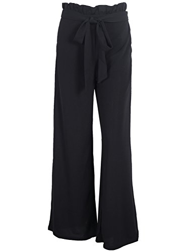 Simplee Women's High Waist Belted Loose Wide Leg Palazzo Pants With Pockets, Black, 1/7, Medium (& Knit Pants Wide Leg Cardigan)