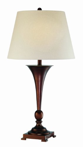 (Lite Source LS-21634 Hamza Table Lamp, Copper Bronze with Linen Fabric Shade)