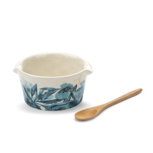 Home Is Our Happy Place Blue 5 x 3 Ceramic Stoneware Appetizer Bowl With Spoon