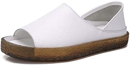 صنادل نسائية - مقاس إضافي 35-44 صندل نسائي صيفي جلد مسامي أحذية نسائية عصرية مسطحة في الهواء الطلق صندل زاباتوس موجر (أبيض 6.5)