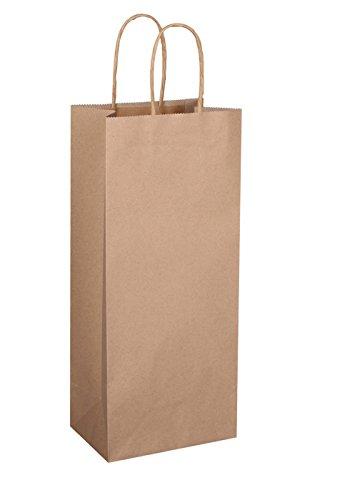 """BagDream Kraft Paper Bags 5.25""""x3.25""""x13"""" 50pcs Wine Bags, Gift Bags, Kraft Bags, Retail Bags, Brown Paper Bags with Handles"""