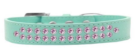 Mirage Pet Products Two Row Light Pink Crystal Aqua Dog Collar, Size 20 by Mirage Pet Products