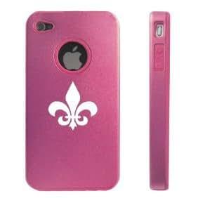 Apple iPhone 4 4S 4G Light Pink D38 Aluminum & Silicone Case Fleur-de-lis