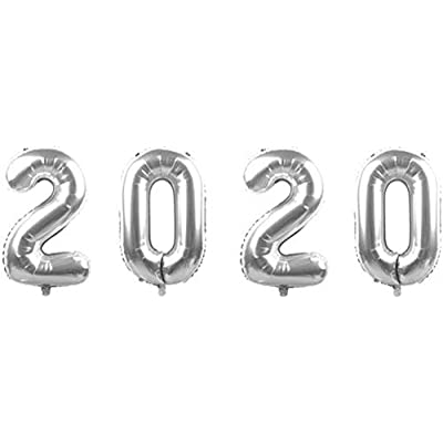 Class of 2020 Foil Balloons Helium Mylar Balloons Graduation Party Balloons for Graduation Party Favor - Silver: Toys & Games