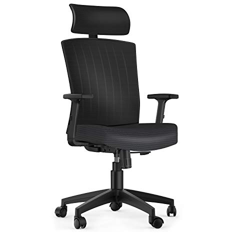 Komene Ergonomic Office Chair with Lumbar Support and Adjustable Seat Height Headrest, High Back with Breathable Mesh – Thick Seat Cushion Computer Desk Chair Black
