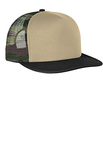 District Men's Flat Bill Snapback Trucker Cap OSFA Military Camo (Camo Foam)