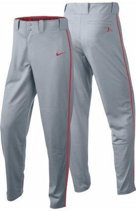 Nike Boys Swingman Dri-FIT Piped Baseball Pants (Grey/Red, Small) by Nike (Image #1)