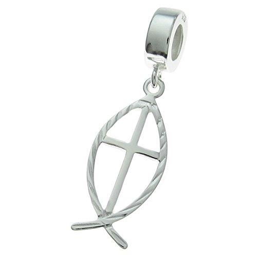 925 Sterling Silver Cross Fish Faith Dangle For European Charm Bracelet by Dreambell
