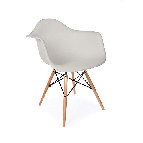 Mid Century Modern Eames Style DAW Light Gray Armchair with Dowel Wood Eiffel MATTE FINISH Eileen Gray Side Chair