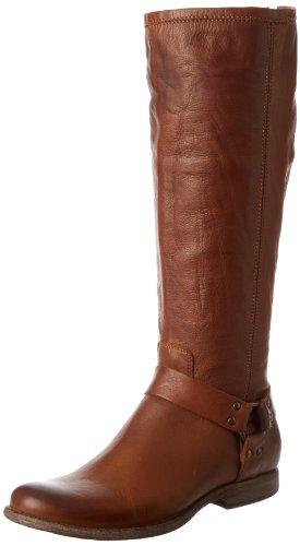 FRYE Women's Phillip Harness Tall Boot: Wide Calf, Cognac Soft Vintage Leather Wide Calf, 6.5 M US - Frye Phillip Tall Riding Boot