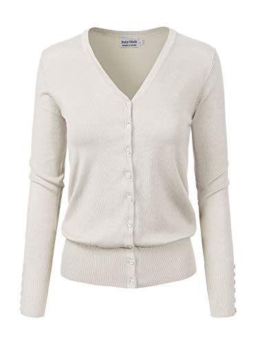 - Design by Olivia Women's Classic Button Down Long Sleeve V-Neck Soft Knit Sweater Cardigan Ivory M