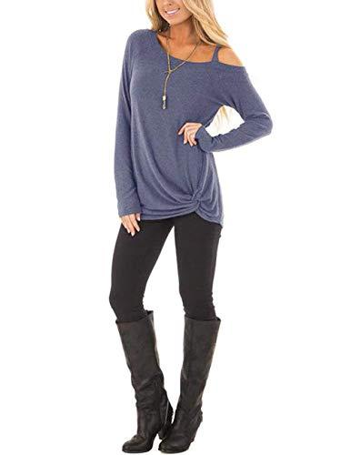 Haut Manches Tunique Dentelle Feelingirl S Tops Blouse Bleu Col Shirt xxl Casual Femme Rond Pull Lâché Longues 7RqTxRwXz