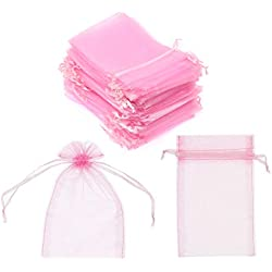 "SumDirect 100Pcs 4""x6"" Sheer Drawstring Organza Jewelry Pouches Wedding Party Christmas Favor Gift Bags (Pink)"
