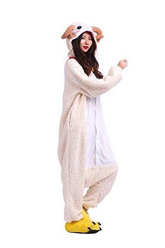 YUWELL Adult Goat Cosplay Apparel Animal Pajamas Jumpsuit Sleep (Funny Adult Onesie)