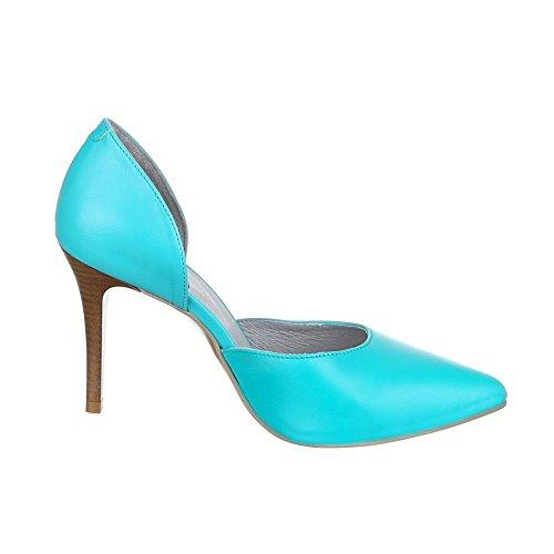Italiaans-design Hoge Hak Lederen Damesschoenen Pfennig / Naaldhak Hoge Hakken Pumps Turquoise