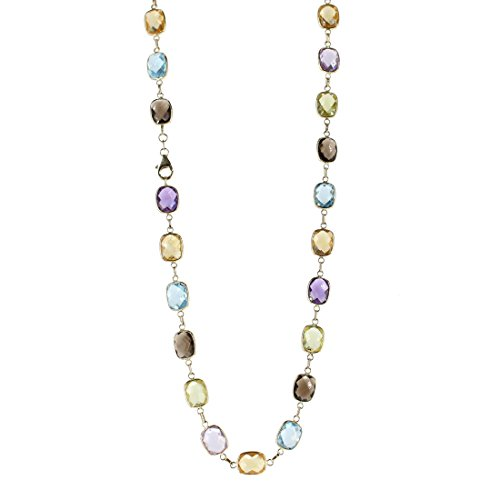 (14K Yellow Gold Station Necklace With Cushion Cut Gemstones 18 Inches)