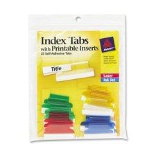 File Hanging Tabs Adhesive Printable (Averyamp;reg; Self-Adhesive Tabs w/White Printable Inserts, 2in, Assorted Tab, 25/Pack)
