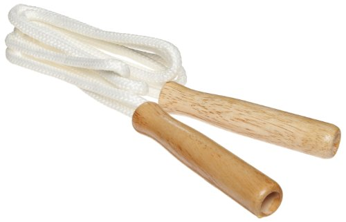 American Educational 6 Piece White Heavyweight Cotton Jump Rope Set with Wood Handles, 5/16