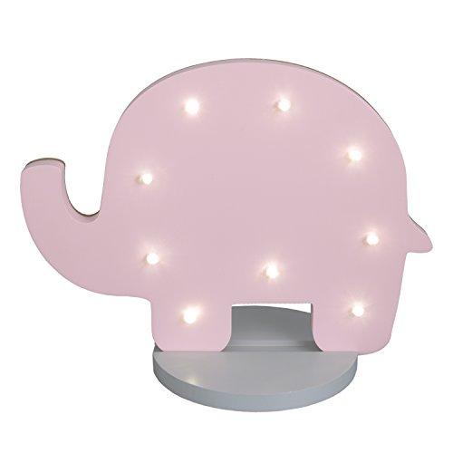 NoJo Elephant Shaped Lighted Nursery Decor, Pink/Grey