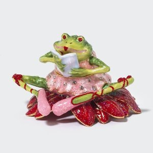 Patience Brewster Christmas Krinkles Poinsettia Frog Jeweled Box Retired - Ornaments 56-39388KRINK