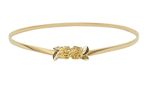 Vintage Designer Belts (E-Clover Vintage Women Gold Metal Skinny Elastic Rose Buckle Dress Waist Belt)