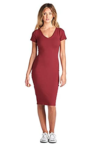LaClef Women's Casual Cap Sleeve V-neck Bodycon T-Shirt Basic Midi Cotton Dress (Small, Burgundy) (Midi Cotton Dress)