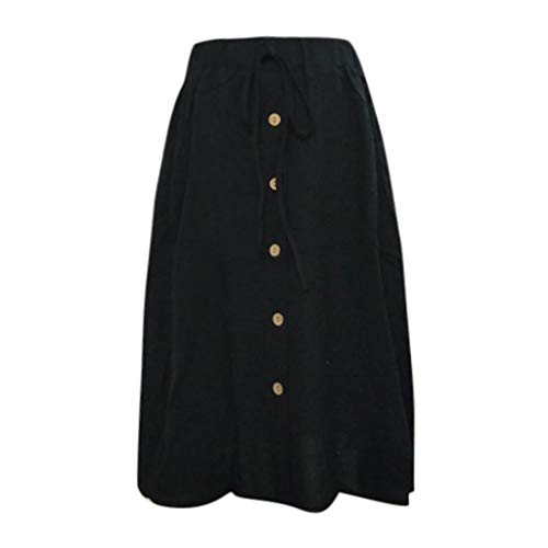 Clearance Dacawin-Dress Women Cotton Linen Midi Skirts - High Waist Drawstring Lace-up Wild Loose Button Casual Flax Skirt Black