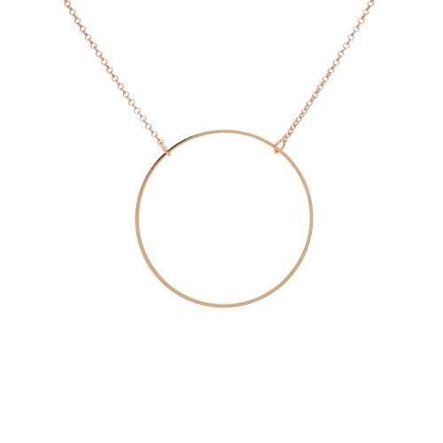 TomShot Women's Rose Gold Ring Circle Necklace Anchor Link Chain Plated Brass Adjustable - (Brass Link Chain Circle Necklace)