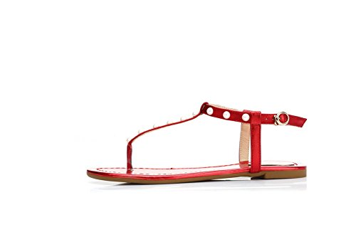 VogueZone009 Women's Blend Materials Split Toe No Heel Buckle Studded Sandals Red lejbqhi0