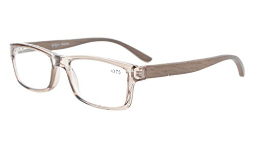 Eyekepper Quality Spring Hinges Wood Arms Mens Womens Reading Glasses Grey Frame - Quality Optical