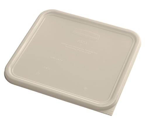 Rubbermaid Commercial Products 1980312 Rubbermaid Commercial Plastic Food Storage Container Lid, Square, Brown, 12 Quart