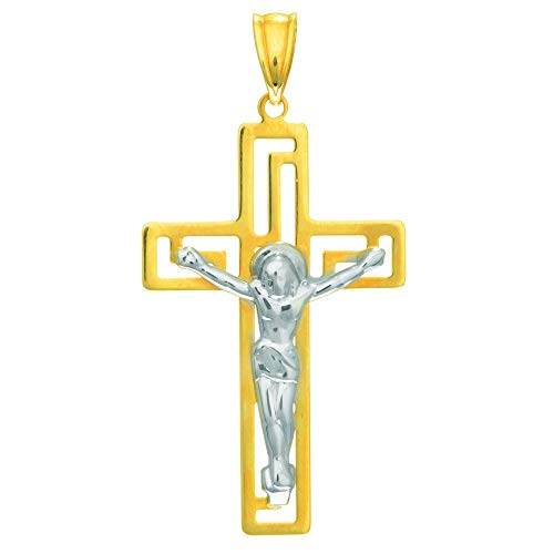 Yellow Figurine 14k - 14K Yellow & White Gold Flat Cross with Figurine by IcedTime